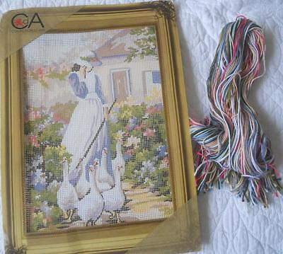 Vintage Collection D'art Tapestry Canvas & All Threads Girl With Geese