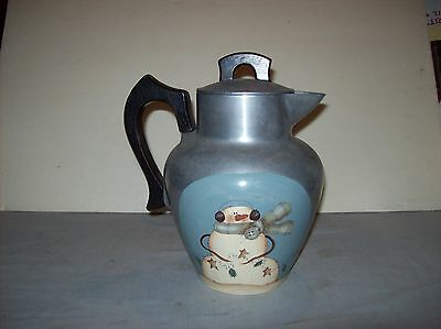 Vintage Club Aluminum Ware Personal Service Pitcher With Winter Painting On Side