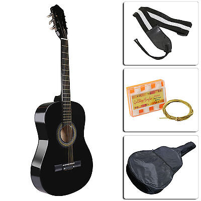 New Beginners Acoustic Guitar With Guitar Case, Strap, Tuner and Extra String