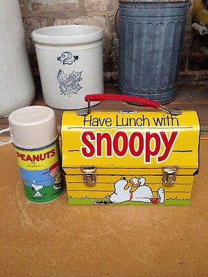Original 1968 Peanuts Snoopy Yellow Dome Top Metal Lunchbox & Thermos - Minty!!