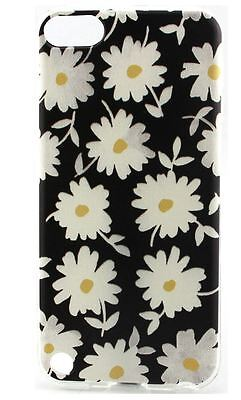 Black with White Daisies Flexible Back Case Cover for Apple iPod Touch 5 5th