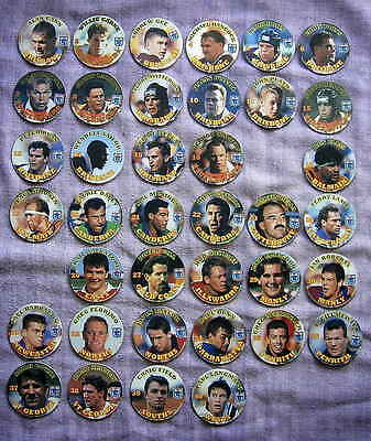 38 - Series 1 Coca Cola Footy Faces Pogs (2 missing from set)