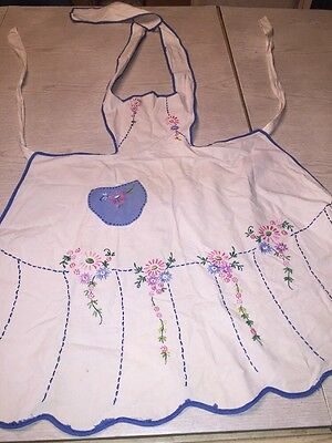 Vintage Bib Apron Hand Made White with blue trim Embroidered Colorful Flowers