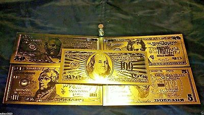 FREE S&H 7 Piece LOT 24Kt.GOLD BANKNOTES $5.$10.$20.$50.$100  REP. * SILVER COIN