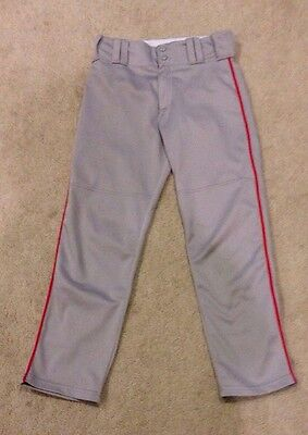 Alleson Athletic Youth Large Baseball Pants Gray With Red Piping