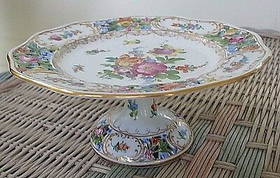 """Antique Carl Thieme - Dresden 7-1/2"""" Reticulated Floral Compote/Cake Stand"""