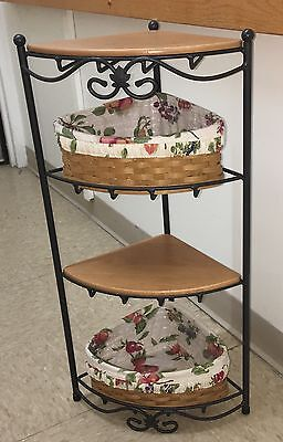 Longaberger Wrought Iron 4 Tier Corner Stand 2 Baskets Liners Protecto 2 Shelves