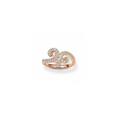 Genuine Thomas Sabo Sterling Silver Rose Gold CZ Arabesque Swirl Ring Size 50