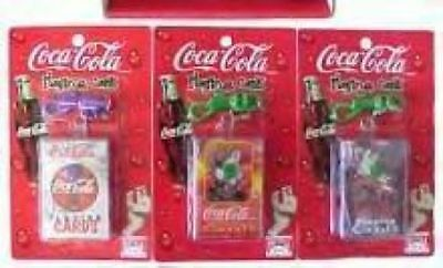 Three Coca Cola Keychains With Miniature Cards NEW