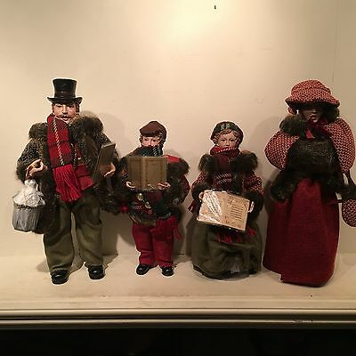 """New Set Of 4 Victorian Family Carolers Beautiful Fur Clothes/accessories 12-16"""""""