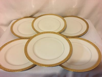 "Lot Of Six Hutschenreuther Selb L.h.s. White With Gold Fruit/leaf 8.5"" Plates"