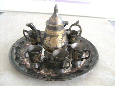 Vintage Miniature etched 8 piece Brass Decanter cordial set Made in India