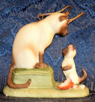 "Roman CHRISTMAS ORNAMENT by Irene Spencer ""CHRISTMAS MORNING"" Siamese Cat, 1987"