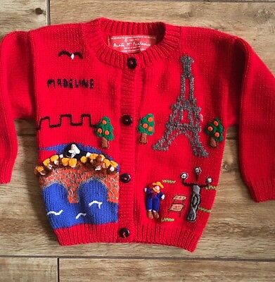 Vintage Aunti M's Fantasies Child Size Small MADELINE Red Sweater 3D