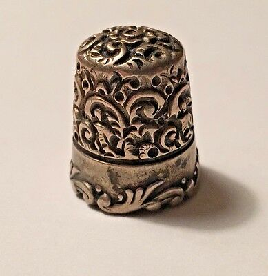 Antique MKD Ketcham & McDougall Sterling Silver Ornate Scroll #9 Thimble 9.3g
