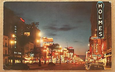 AH308 Canal Street Night View New Orleans Louisiana LA Adv Signs Vintage PC