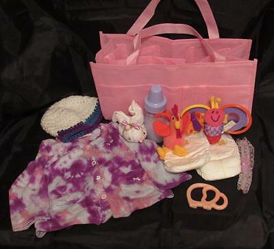 Reborn 6-9 mo baby Grab & Go Complete Diaper bag doll bottles clothes toy paci