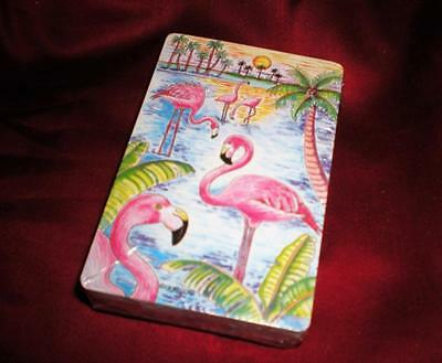 VERTICAL FLOCK of FLAMINGOS  PALMS  WATERSIDE NEW DECK OF FLAMINGO PLAYING CARDS