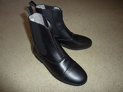"""Eu 35 Ovation Finesse Gd 029 Black Leather Zip Up Paddock Boots 7"""" Tall New"""