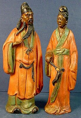 Pair Vintage Chinese Man & Woman Hand Painted & Plaster Filled Pottery Figurines