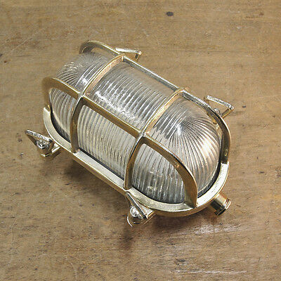 Brass Bulkhead Light - Prismatic Glass - Vintage Industrial Marine Style Lamp