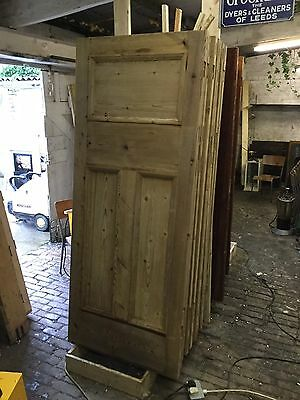 Unusual Victorian Edwardian Reclaimed Pine Door Stripped Paint Stripping Set 17