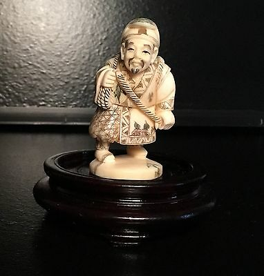 Authentic, Signed Late 18Th-19Th Century Netsuke Village Figure-Handcrafted
