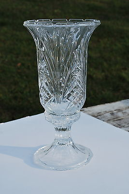 12 inch Unknown Maker 2 piece Hurricane Lamp - Crystal/Glass (Heavy) - NICE!!