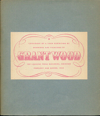 Artist Grant Wood Signed Autograph Exhibition Catalogue Art Drawing Painting !!!