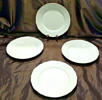 4 ROSENTHAL Sanssouci Salad Plates Ivory Gold Trim Germany Embossed