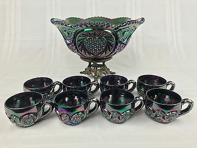 """Fenton Iridescent Blue Purple Carnival Glass 13 1/2"""" Punch Bowl, Stand, 8 Cups"""