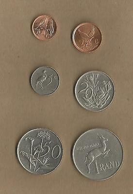 South Africa: 6 coins from 1c to R1. Priced to sell. See both sides.(Ref 588)