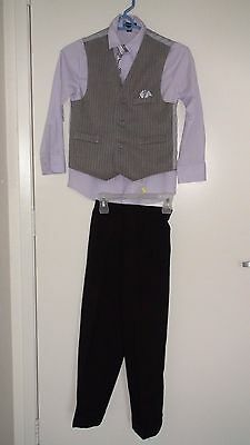 Boys Tuxedo Formal Boy Wedding Suit Easter Party Suits Tie Sz 8 Black Vest