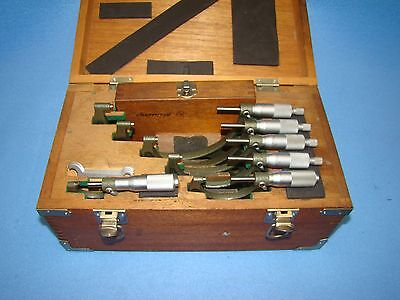 """Mitutoyo 0-6"""" Micrometer Set Model 103-907A Resolution .0001"""""""