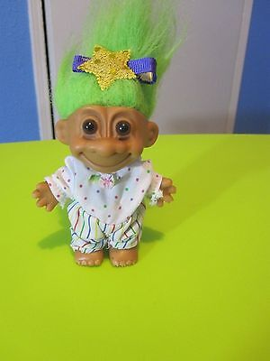 "4"" Russ Troll Doll with Green Hair, Multi Color Jumpsuit"