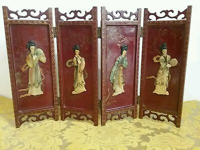 Vintage Antique Japanese Table Screen