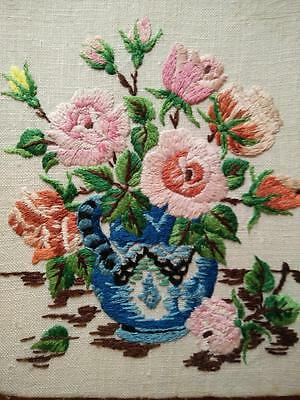 Charming Sweet Rose Bowl ~ Hand Embroidered small Picture/Panel on Board