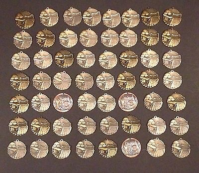 Medal Lot Of 56 Solid Metal Swimming Medals Pin Badge Lot