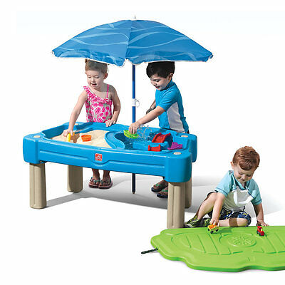 Step 2  Water Sand Harbour Table with Umbrella Play Table Cascading Cove BNIB