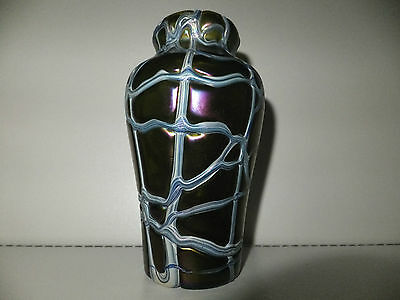 Antique Bohemian Art Nouveau Pallme Konig Iridescent Threaded Glass Vase