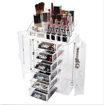 Clear Acrylic Display Makeup Cosmetic Jewelry Box Organizer Drawer Storage