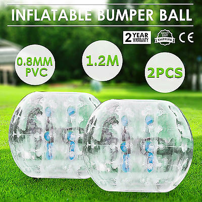 2Pcs 1.2M Inflatable Bubble Bumper Zorb Ball TPU Football Reusable Adult Family