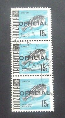 Tanzania-1967-Official 15c Fish issue-Three Joined examples-Used