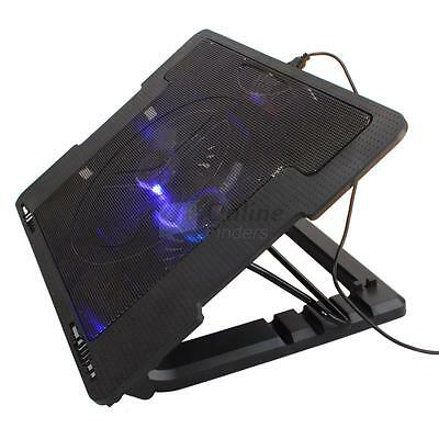 "LED 9""-17"" 2 USB 2 Fan Laptop Notebook PC Cooling Pad Adjustable Stand Cooler UK"