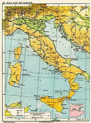 ITALY AND THE BALKANS 1938 Original ANTIQUE MAP