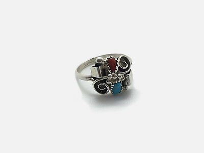 Native America Indian Ladies Silver Turquoise & Coral Ring – Navajo
