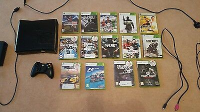 Xbox 360 Slim 250gb console + 14games bundle! rechargeable pack controller! GTA5
