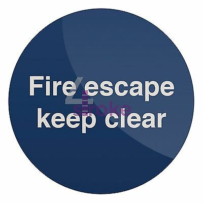 Self-Adhesive Fire Escape Keep Clear Sign - 100 X 100mm