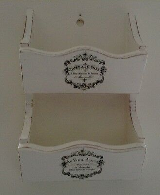 Solid pine shabby chic vintage wall mounted letter magazine rack white