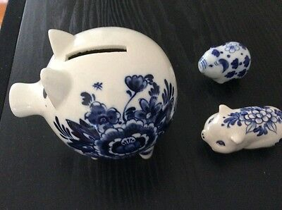 Vintage ceramic blue & white pig ornaments